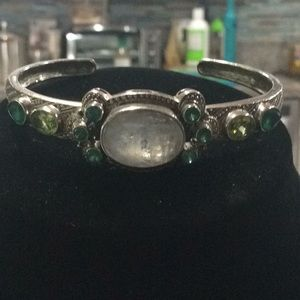 Moonstone Peridot Sterling Bracelet